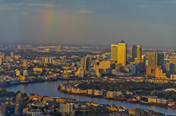London, England: View from The Shard: Rainbow