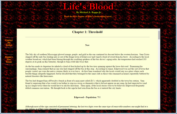 An early online version of my novel, circa 2006.
