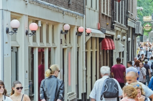 Amsterdam, The Netherlands: Red Light District: Scantily-clad pr