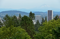 View of Mount Hood from Japanese Garden. Portland, Oregon - Augu