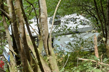 These two RVs got themselves stuck together on the narrow road leading to the main parking lot, creating a massive traffic backup in both directions. If I had arrived earlier I might have been stuck there all day, but luckily I parked further away near a smaller waterfall and hiked to the main falls. It was still a chore getting back out because traffic was backed up past my car when I returned and I had to wait for someone to let me out, but it would have been so much worse if I had been stuck on the other side of those RVs.