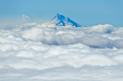I wonder if anyone was at the summit of Mount Jefferson looking across at us and enjoying a similar view of Mount Hood peeking above the clouds.