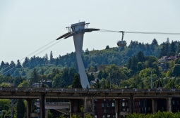 Portland Aerial Tram (carries passengers between the waterfront district and Marquam Hill.
