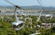 Cable car approaching Marquam Hill.