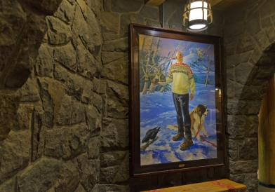 I found this painting to be creepy. Maybe it's the look of the guy's face while holding a miniature Overlook (err, Timberline Lodge) in his hand.