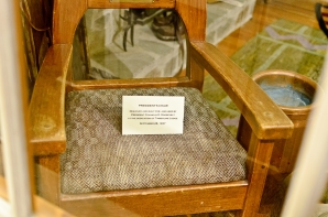 This chair was built for FDR to use at the dedication of the hotel.
