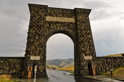 The famous Roosevelt Arch at the North Entrance.