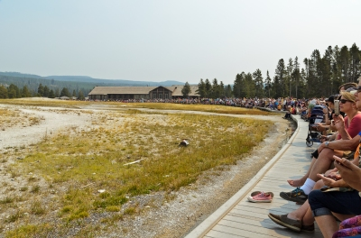Large crowd gathering for the eruption.