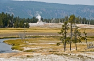 Castle Geyser and Firehole River