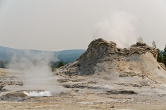 Castle Geyser with boiling smaller geyser in foreground.