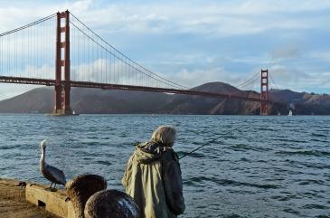 San Francisco: A fisherman and his buddy.
