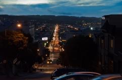 San Francisco, California: Lombard Street looking west.